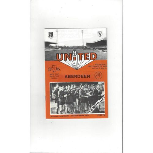 1985/86 Dundee United v Aberdeen Scottish League Cup Semi Final Programme