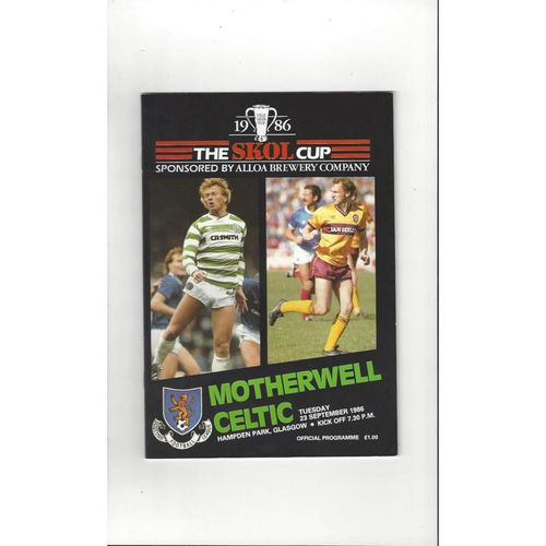 1986/87 Motherwell v Celtic Scottish League Cup Semi Final Football Programme