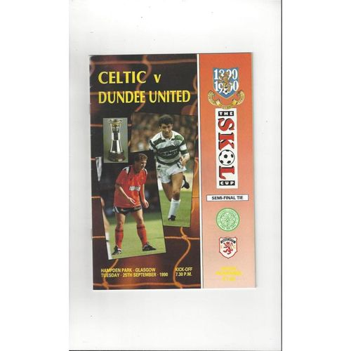 1990/91 Celtic v Dundee United Scottish League Cup Semi Final Football Programme