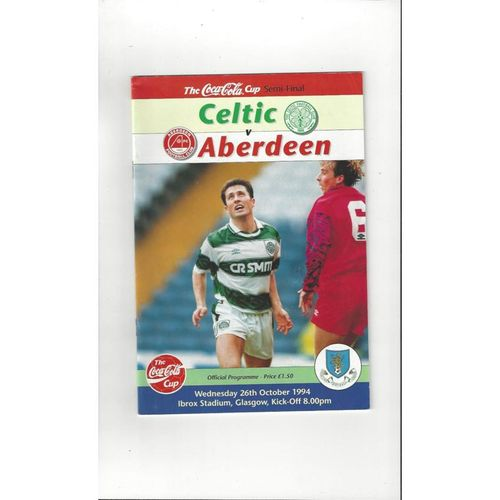 1994/95 Celtic v Aberdeen Scottish League Cup Semi Final Football Programme