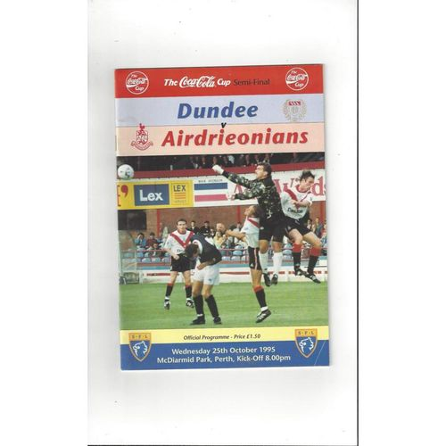 1995/96 Dundee v Airdrie Scottish League Cup Semi Final Football Programme