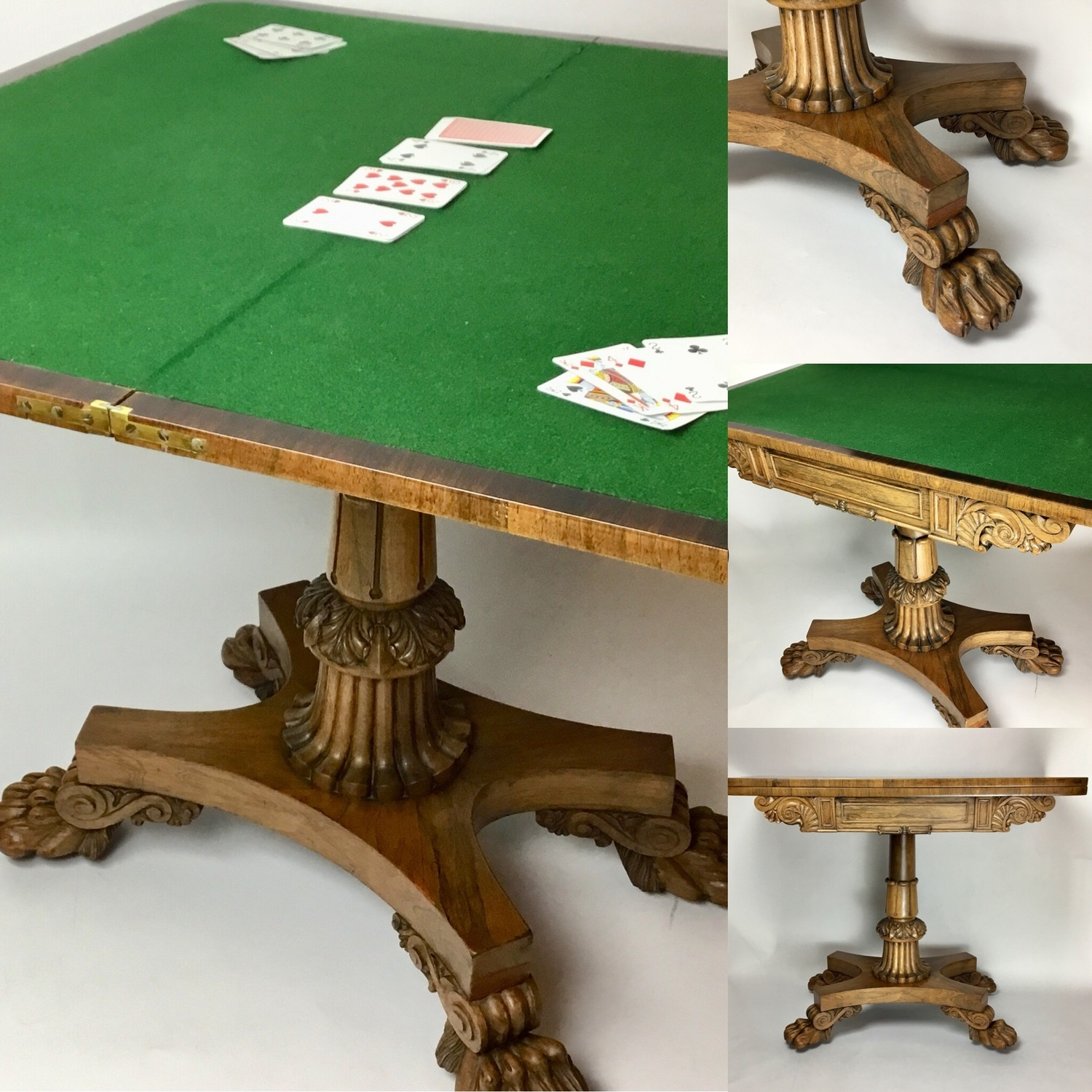 regency lions paw foldover card table circa 1815 the vintage