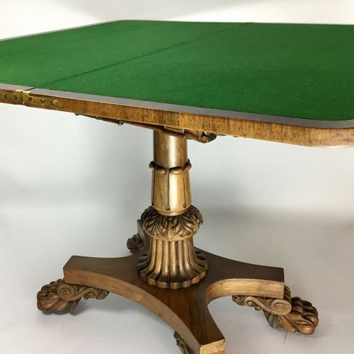 Regency Lions Paw Foldover card table Circa 1815