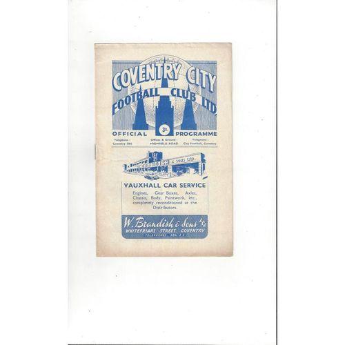 1949/50 Coventry City v Southampton Football Programme