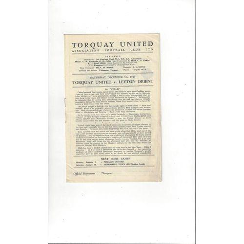 1949/50 Torquay United v Leyton Orient Football Programme