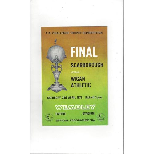 1973 Scarborough v Wigan Athletic Trophy Final Football Programme