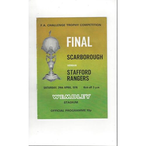 1976 Scarborough v Stafford Rangers Trophy Final Football Programme