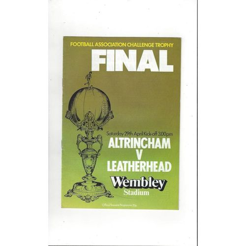 1978 Altrincham v Leatherhead Trophy Final Football Programme
