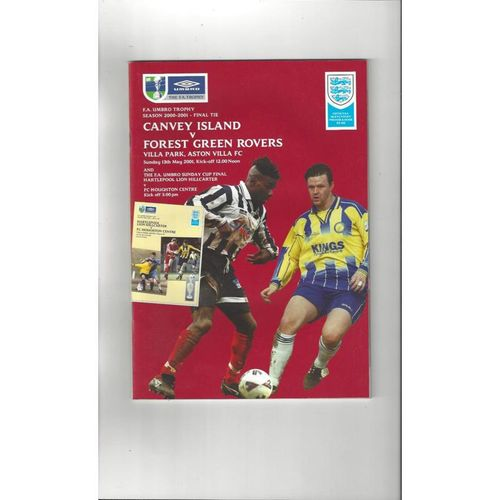 2001 Canvey Island v Forest Green Rovers FA Trophy Final Football Programme @ Aston Villa