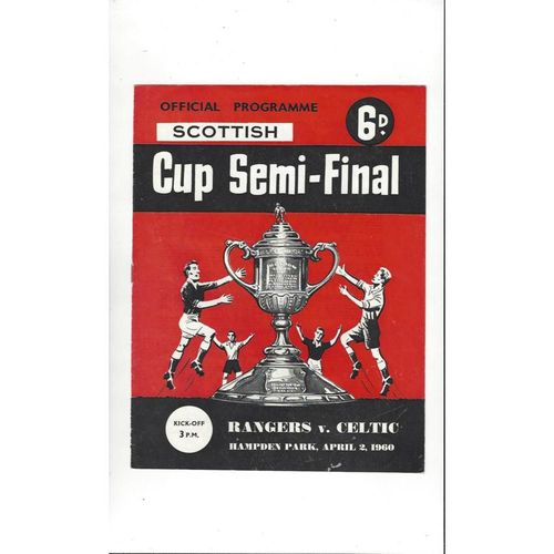 1960 Rangers v Celtic Scottish Cup Semi Final Football Programme