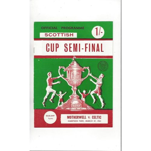 1965 Motherwell v Celtic Scottish Cup Semi Final Football Programme