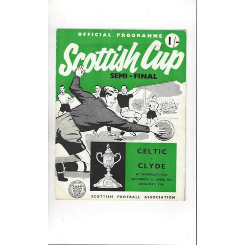 1967 Celtic v Clyde Scottish Cup Semi Final Football Programme