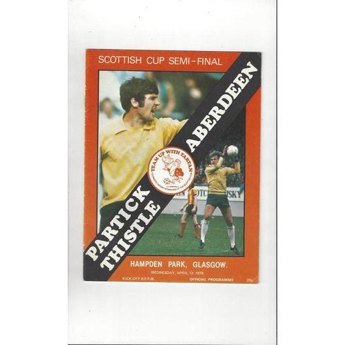 1978 Partick Thistle v Aberdeen Scottish Cup Semi Final Football Programme