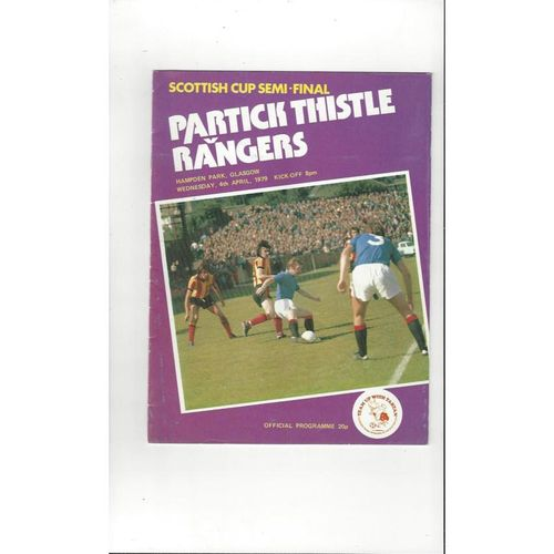1979 Partick Thistle v Rangers Scottish Cup Semi Final Football Programme