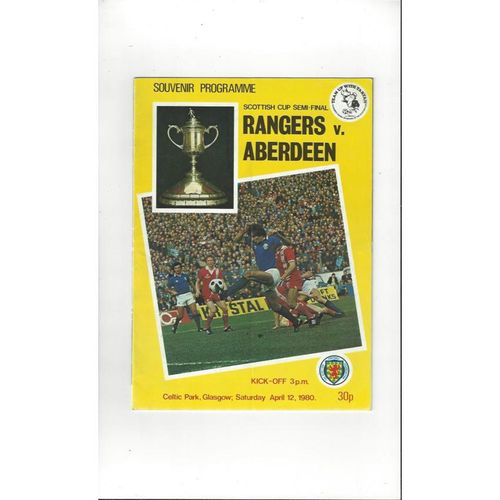 1980 Rangers v Aberdeen Scottish Cup Semi Final Football Programme