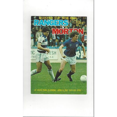 1981 Rangers v Morton Scottish Cup Semi Final Football Programme