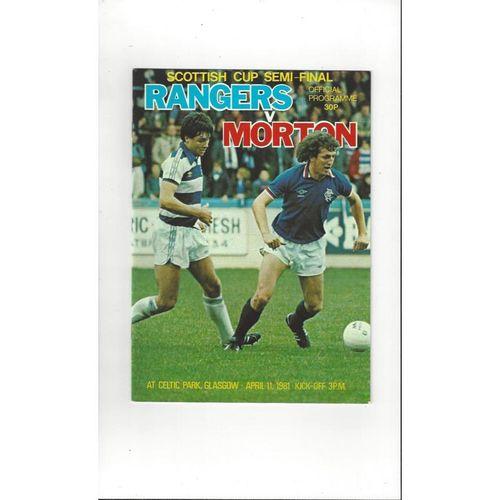 1981 Rangers v Morton Scottish Cup Semi Final Football Programme