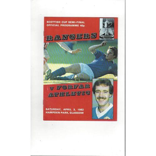 1982 Rangers v Forfar Scottish Cup Semi Final Football Programme