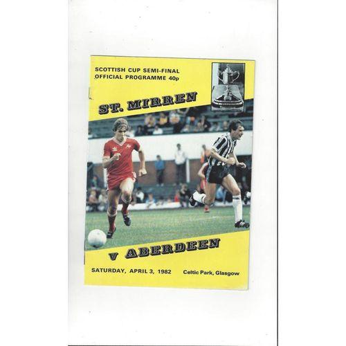 1982 St Mirren v Aberdeen Scottish Cup Semi Final Football Programme