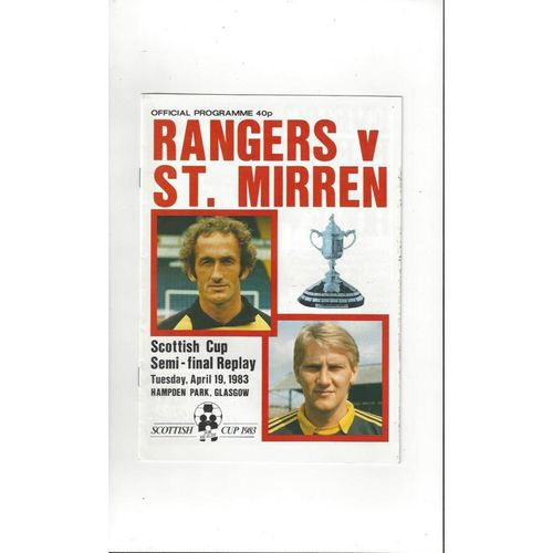 1983 Rangers v St. Mirren Scottish Cup Semi Final Replay Football Programme