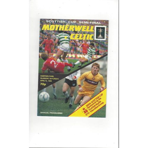1985 Motherwell v Celtic Scottish Cup Semi Final Football Programme