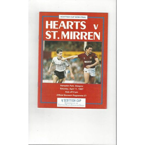 1987 Hearts v St Mirren Scottish Cup Semi Final Football Programme