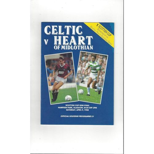 1988 Celtic v Hearts Scottish Cup Semi Final Football Programme