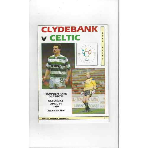 1990 Clydebank v Celtic Scottish Cup Semi Final Football Programme