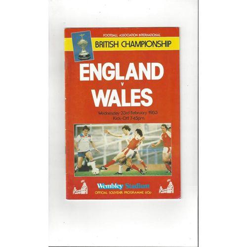 1983 England v Wales Football Programme
