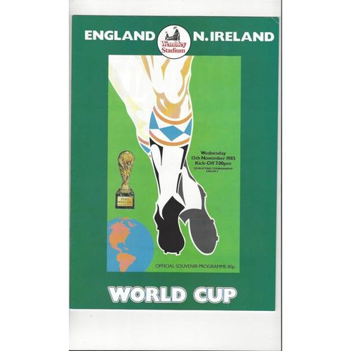 1985 England v Northern Ireland Football Programme