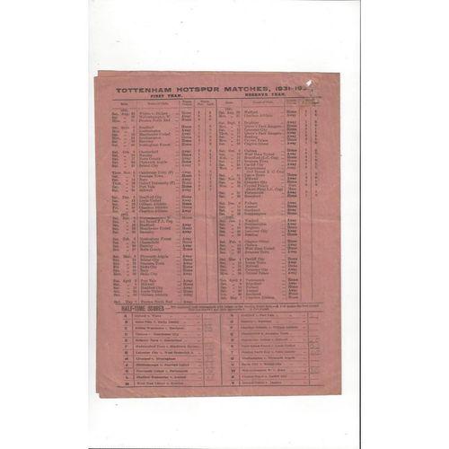 1931/32 Tottenham Hotspur v Bradford City Football Programme