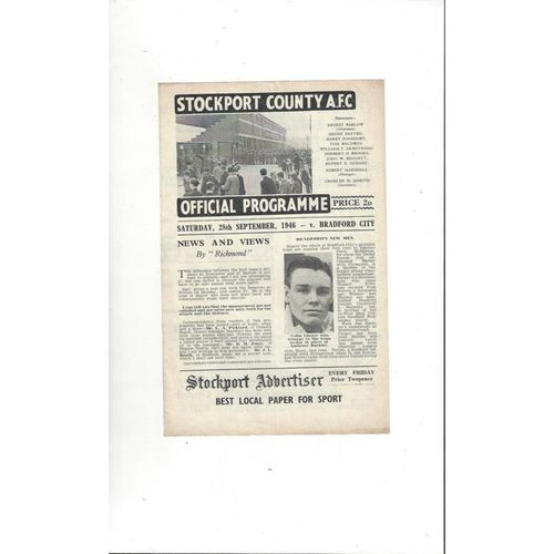 1946/47 Stockport County v Bradford City Football Programme