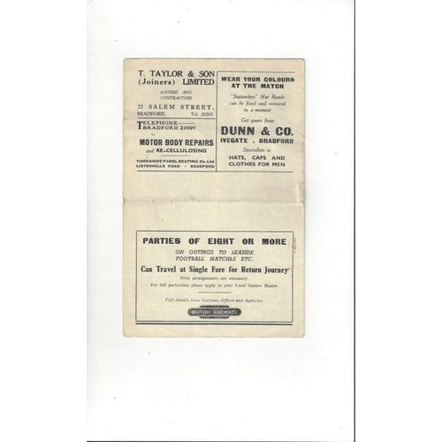 1949/50 Bradford City v Accrington Stanley Football Programme
