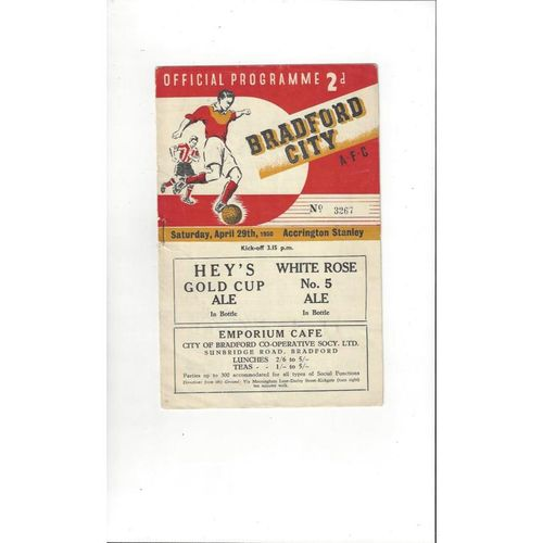 1949/50 Bradford City v Accrington Stanley Football Programme