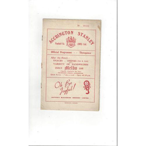1953/54 Accrington Stanley v Rochdale Football Programme