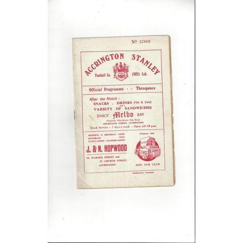 1954/55 Accrington Stanley v Bradford City Football Programme