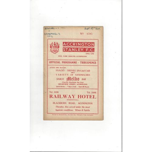 1958/59 Accrington Stanley v Bradford City Football Programme
