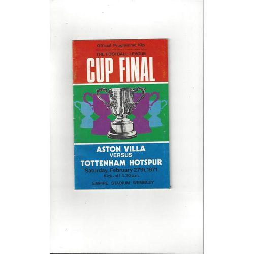 1971 Aston Villa v Tottenham Hotspur League Cup Final Football Programme