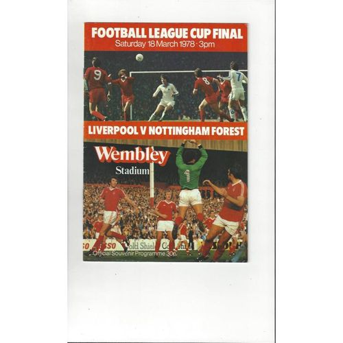 1978 Liverpool v Nottingham Forest League Cup Final Football Programme