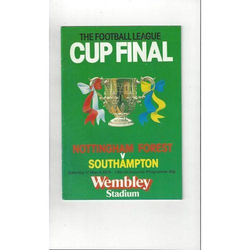 1979 Nottingham Forest v Southampton League Cup Final Football Programme