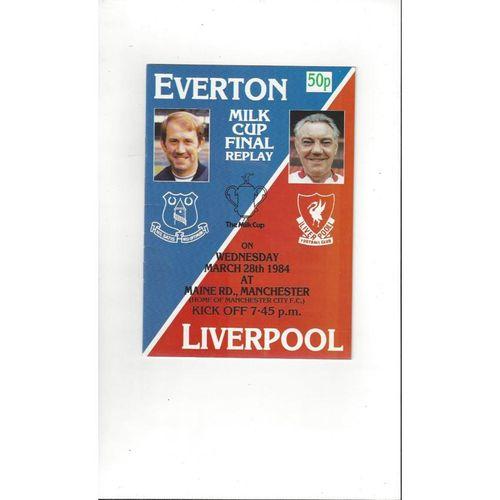 1984 Everton v Liverpool League Cup Final Replay Football Programme