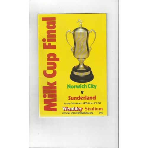 1985 Norwich City v Sunderland League Cup Final Football Programme