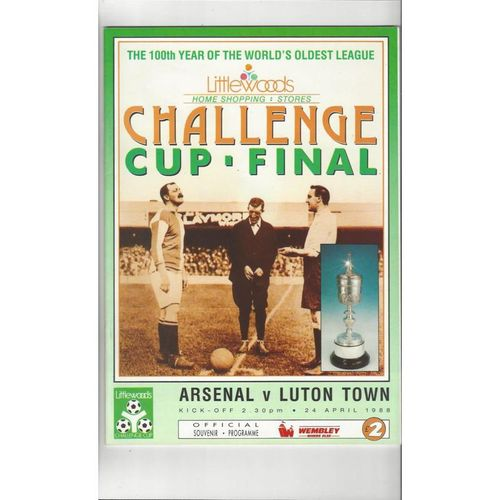 1988 Arsenal v Luton Town League Cup Final Football Programme