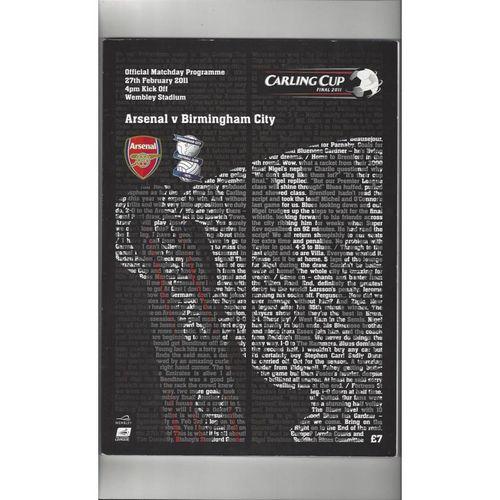 2011 Arsenal v Birmingham City League Cup Final Football Programme