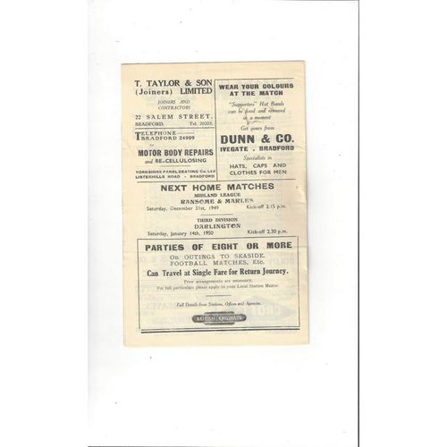 1949/50 Bradford City v Chester Football Programme