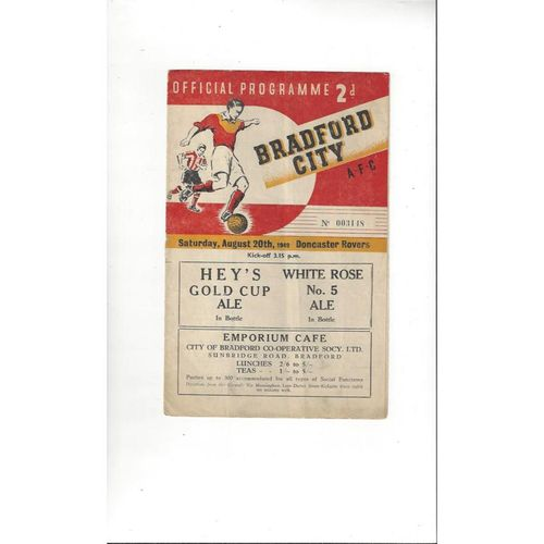 1949/50 Bradford City v Doncaster Rovers Football Programme