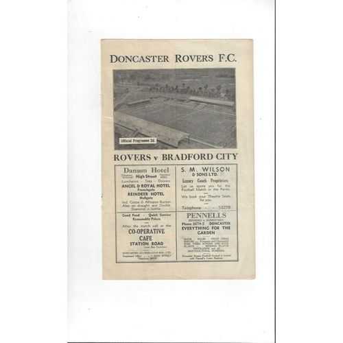 1946/47 Doncaster Rovers v Bradford City Football Programme