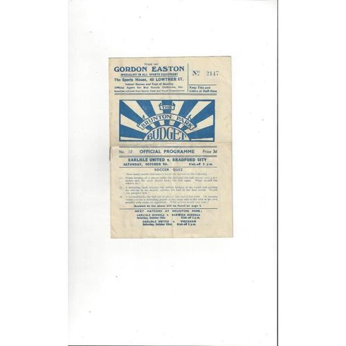 1948/49 Carlisle United v Bradford City Football Programme