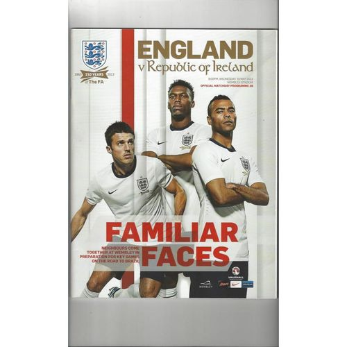 2013 England v Republic of Ireland Football Programme