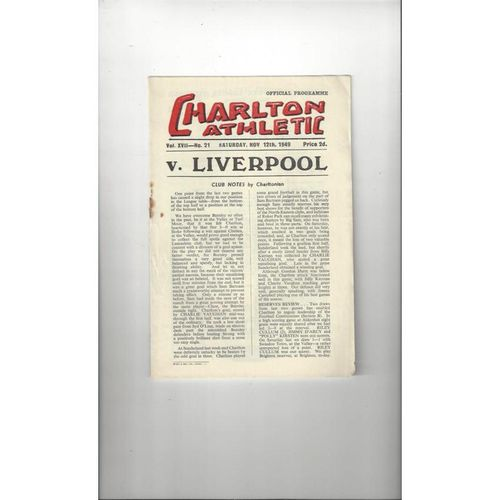 1949/50 Charlton Athletic v Liverpool Football Programme